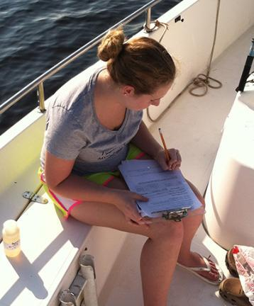 photo of a young female volunteer recording data on paper